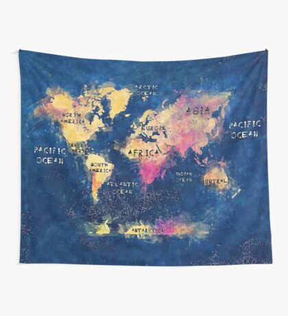 world map oceans and continents Wall Tapestry