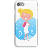 Cute blond woman in winter iPhone Case/Skin