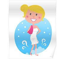 Cute blond woman in winter Poster