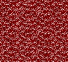 Red and White Marigold Pattern by Mariya Olshevska