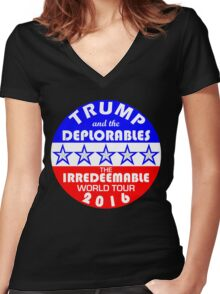 Trump And The Deplorables Irredeemable World Tour 2016 Women's Fitted V-Neck T-Shirt