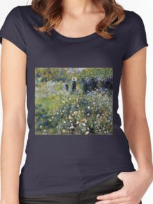 Renoir Auguste - Woman with a Parasol in a Garden (1875)  Women's Fitted Scoop T-Shirt