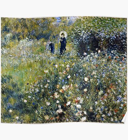 Renoir Auguste - Woman with a Parasol in a Garden (1875)  Poster