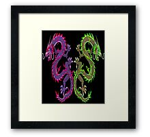 CHINESE DRAGON; Colorful Abstract Mirror Image Art Print Framed Print