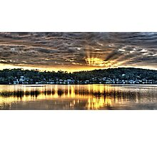Golden Crepuscular sunrise water reflections. Photographic Print