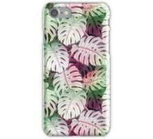 Tropical coral white green watercolor monster leaves iPhone Case/Skin