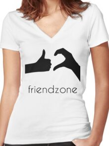 Friendzone Logo Women's Fitted V-Neck T-Shirt