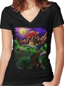 Red Gyarados Women's Fitted V-Neck T-Shirt