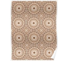 Chocolate Brown & Mocha Cream Kaleidoscope Flowers Poster