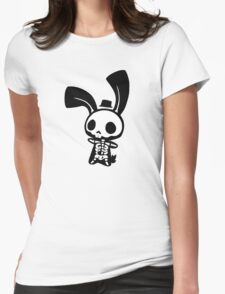 Chui Bunny's Skeleton in a Tiny Top Hat Womens Fitted T-Shirt