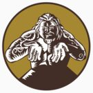 Samoan God Tagaloa Arms Out Circle Woodcut by patrimonio