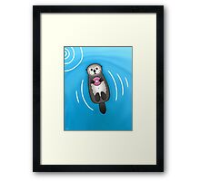 Sea Otter with Donut - Cute Otter Holding Doughnut with Little Paws Framed Print