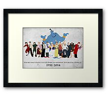 Minimalist Inspired Robin Williams Character Tribute Framed Print