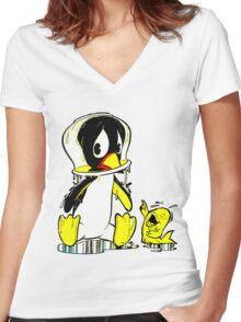 Penguin Bowl Women's Fitted V-Neck T-Shirt