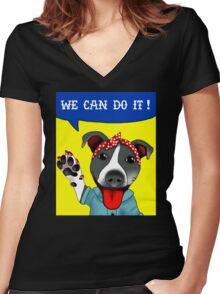 Lu the Riveter! Women's Fitted V-Neck T-Shirt