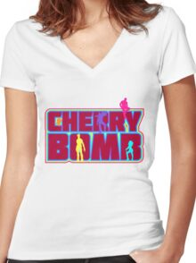 Cherry Bomb (Text) Women's Fitted V-Neck T-Shirt