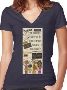 Good Friends Women's Fitted V-Neck T-Shirt