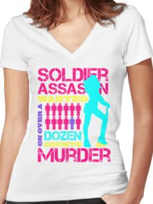 Soldier, Assassin, Wanted For Murder Women's Fitted V-Neck T-Shirt