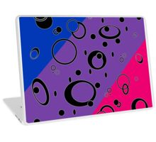Retro Futuristic Loops, Bisexual Pride Flag, Black Loops Laptop Skin