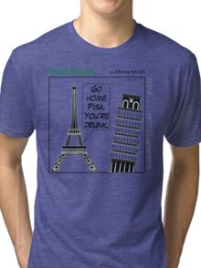 Cartoon : Leaning Tower of Pisa Italy Tri-blend T-Shirt
