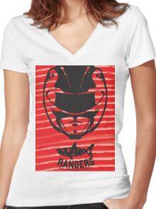 Red Ranger Women's Fitted V-Neck T-Shirt