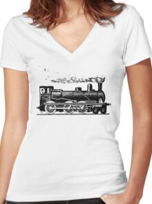 Vintage European Train  Women's Fitted V-Neck T-Shirt