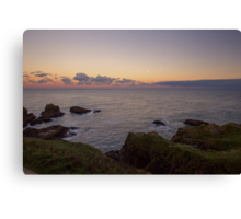 Sunset on Cruden Bay, Slains Castle - North East coast of Aberdeenshire, Scotland Canvas Print