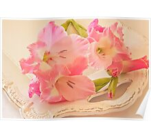 Gladiolas In Pink Poster