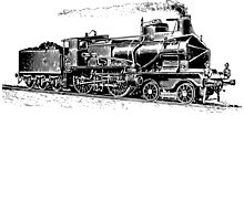 Vintage European Train A4 by cartoon