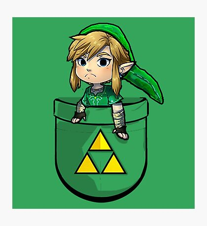 Pocket Link Hero of Time Zelda with Triforce Photographic Print