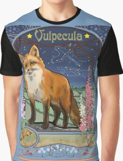 Fox and Foxgloves Constellation Vulpecula Art Nouveau Style Graphic T-Shirt