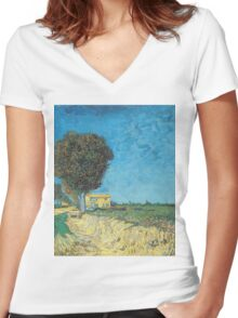 Vincent Van Gogh - Lane Near Arles (Side Of A Country Lane), 1888 Women's Fitted V-Neck T-Shirt