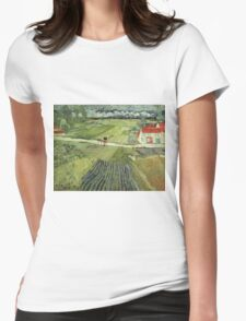 Vincent Van Gogh - Landscape With Carriage And Train 1890 Womens Fitted T-Shirt