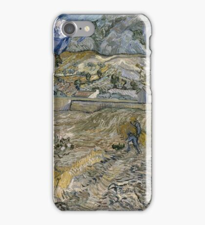 Vincent Van Gogh - Landscape At Saint-Remy - Enclosed Field With Peasant 1889 iPhone Case/Skin