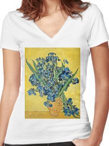 Vincent Van Gogh - Irises, May 1890 - 1890  Women's Fitted V-Neck T-Shirt