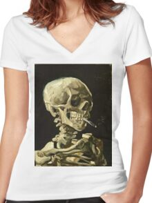 Vincent Van Gogh - Head Of A Skeleton With A Burning Cigarette, January 1886 - February 1886  Women's Fitted V-Neck T-Shirt