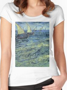 Vincent Van Gogh - Fishing Boats At Sea, 1888 Women's Fitted Scoop T-Shirt