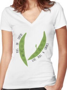 Peas - Pun Women's Fitted V-Neck T-Shirt