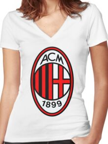 AC Milan FC Women's Fitted V-Neck T-Shirt
