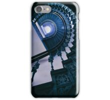 Spiral metal stairs in blue iPhone Case/Skin