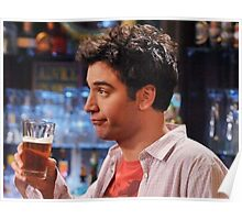ted mosby enjoying a nice cold beer  Poster