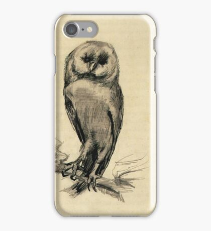 Vincent Van Gogh - Barn Owl Viewed From  Front, 1887 iPhone Case/Skin
