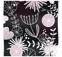 Retro background with vintage flowers Poster