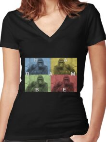 Harambe does Pop Culture  Women's Fitted V-Neck T-Shirt