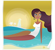 Cute woman taking sun bathing on the beach Poster