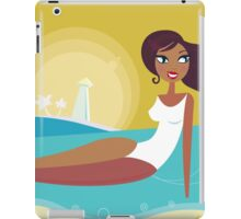 Cute woman taking sun bathing on the beach iPad Case/Skin