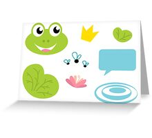 Fairy Frog cartoon icons and elements Greeting Card