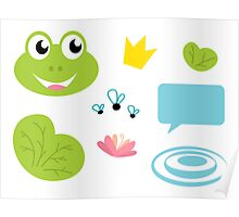Fairy Frog cartoon icons and elements Poster