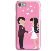 Wedding couple - bride and groom, isolated on pink iPhone Case/Skin