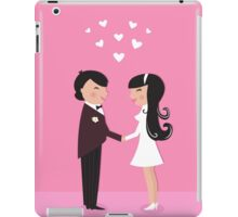 Wedding couple - bride and groom, isolated on pink iPad Case/Skin